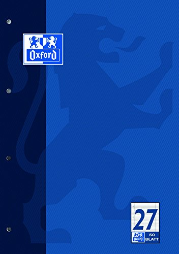 OXFORD 100050352 Schulblock Schule 5er Pack A4 Lineatur 27 - liniert mit Rand Doppelrand 4-fach gelocht 50 Blatt kopfverleimt Notizblock Schreibblock Papierblock