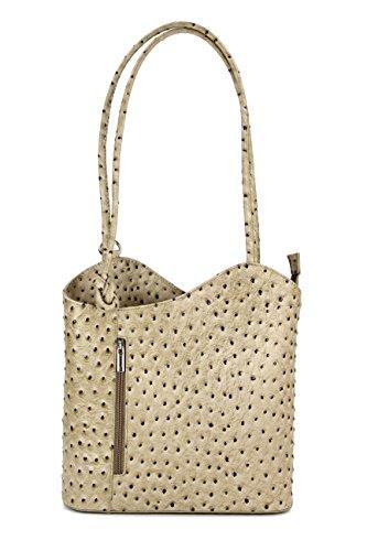 Belli ital. Ledertasche Backpack 2in1 Rucksack Handtasche Schultertasche - Freie Farbwahl - 28x28x8 cm (B x H x T) (Taupe strauss) - Taupe Strauß