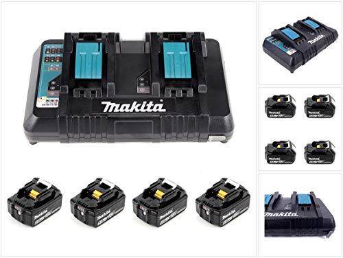 Makita Power Source Kit 18V 5Ah Set, schwarz, 4X Akku BL1850B, 1x Ladegerät