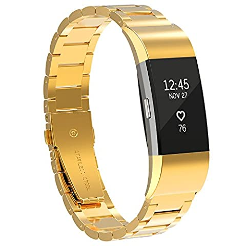 For Fitbit Charge 2 Strap, SnowCinda Metal Replacement Wristband Adjustable Accessories Bracelet Band for Fitbit Charge 2 Heart Rate and Fitness Wristband Gold