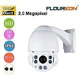 FLOUREON HD51F 1080P Dome IP Kamera Überwachungskamera PTZ 10X ZOOM 4.9-49mm IR-CUT H.264 P2P 6 Infrarot LEDs Nachtsicht CCTV Sicherheitskamera Wasserdicht Outdoor IP Cam Bewegungsmelder