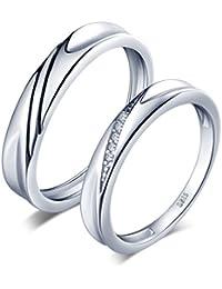 Infinite U simple Wave Plata de ley 925circonita cúbica pareja/los amantes de los de banda anillo Juego de Anillos de regalo de boda promesa de compromiso aniversario, tamaño de anillo j-u