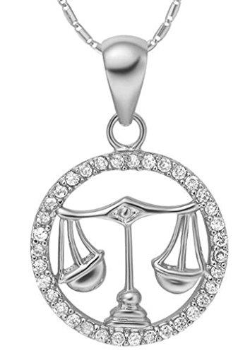 AMDXD Schmuck Herren Damen Kette Versilbert 12 Sternzeichen Kette mit Waage Anhänger Halskette Silber Kette 50-60CM