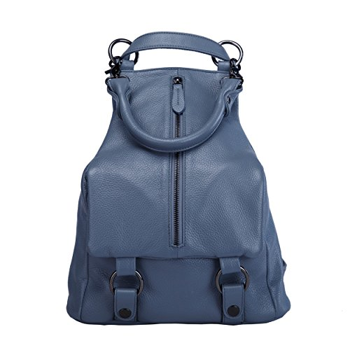 uen-echtes Leder-Rucksack-Schultaschen-Spielraum-Schulter-Beutel (elegantes Blau) (Benutzerdefinierte Drawstring-tasche)
