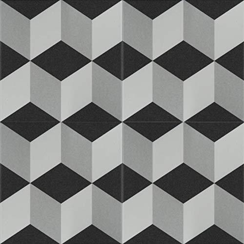 Mediterrane Keramik-Fliesen Siliana 20 x 20 cm 1 qm glasiertes Feinsteinzeug in Zementoptik | Bodenfliesen & Wandfliesen als Wand-Dekoration im Bad & Küchenrückwand | Schöne Küche Flur & Badezimmer