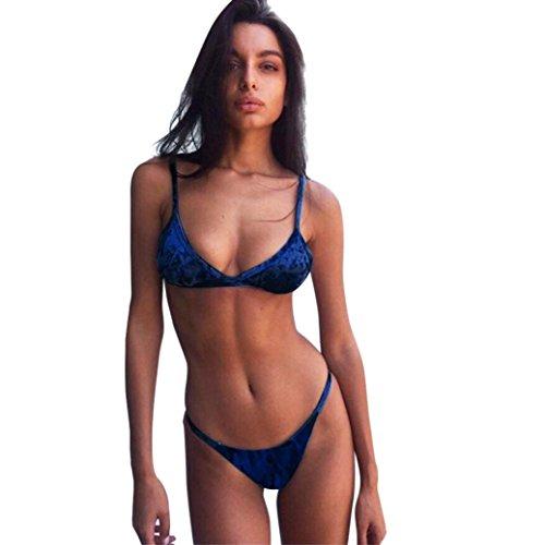 Hirolan Badebekleidung Damen Samt Bikini Schwimmen Kostüme Zwei Stück Badeanzug Hochdrücken Bademode Sommer Beachwear Schwimmanzug Oberteile + Slip Bikinihose Sportbadeanzug (S, Blau)