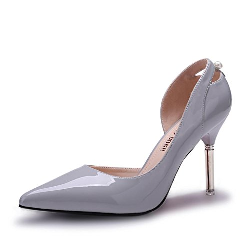 ALUK- Printemps Et Été - Mince Chaussures à Talons Avec Chaussures Pointues Version Coréenne De Souliers Occasionnels ( couleur : Gray , taille : 36 ) Gray