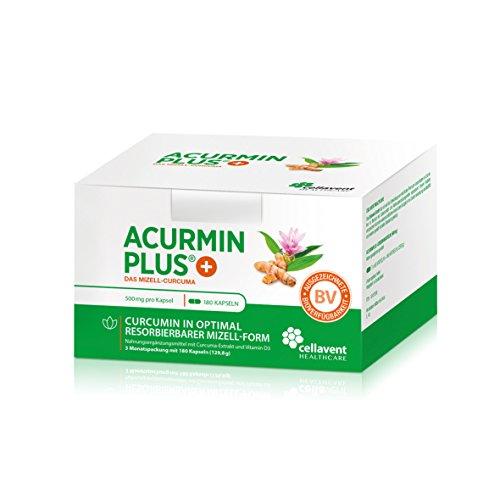 Kurkuma Kapseln hochdosiert von Acurmin PLUS: Das Mizell-Curcuma (Curcumin) mit Vitamin D3, OHNE Piperin/Bioperin/Pfeffer von Cellavent Healthcare - 180 Kapseln natürliches Kurkuma