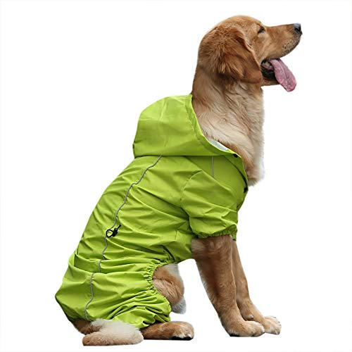 JKRTR Mode Large Dog Hooded Legs Regen- und wasserdichter Regenmantel für Haustiere(Grün,S)
