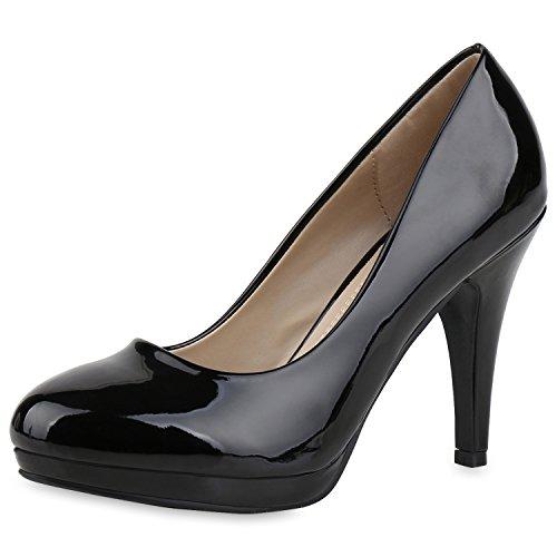 Damen Pumps Plateau Pumps High Heels Lack Stiletto Elegante Schuhe Schwarz Glanz (Damen Schuhe Plattform)
