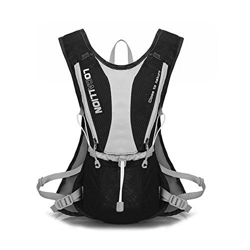 Fahrradrucksäcke 5L Sport Rucksack Schultasche mit Reflektoren in der Nacht für Outdoor Aktivitäten Radsport Rennen Klettern Wandern usw. (Schwarz und Grau)