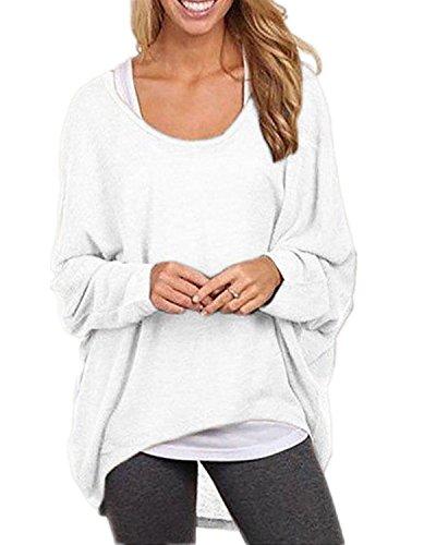 Maglia a Manica Lunga Donna - BienBien Bluse e Camicie Casuale Asimmetrico Camicia Girocollo Pullover Camicetta Superiore Sweatshirt Bianca