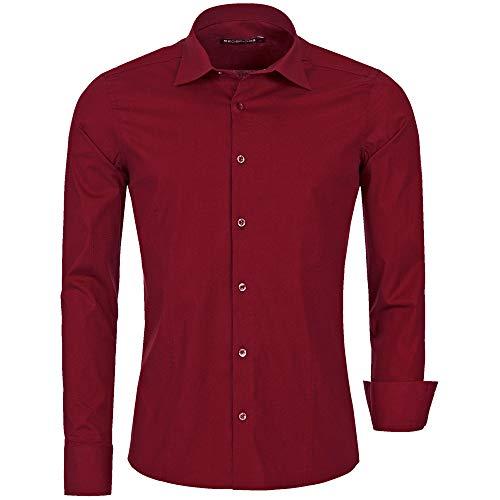 Redbridge - camicia da uomo, per il tempo libero, taglio regolare r 2111 bordeaux l