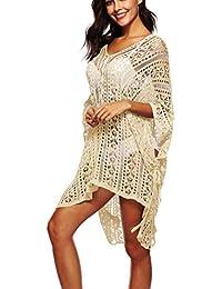 Hoverwin - Poncho de Playa para Mujer, de Punto, con Cuello en V Albaricoque