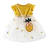 Axong 2pcs Baby Girl Pineapple Print Tulle Patchwork Tutu Princess Party Dress with Bag 0M-2Y Pink