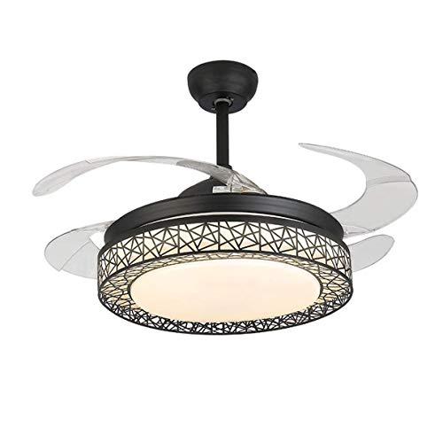 42 inch ventola retrattile con telecomando e dimmerabile light ventilatori lampadario invisibile con cristalli 3 cambiando colore,black
