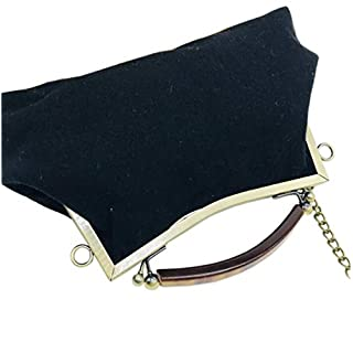 ACVIP Ladies Plain Color Cotton Linen Clutch Handbag Wedding Evening Top Handle Bag (Black)