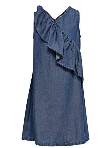 Kids Only Mädchen Jeanskleid mit Rüschen Sommerkleid KONAJA, Größe:140, Farbe:Dark Blue Denim