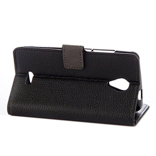 Für Wiko FREDDY Litchi Textur Horizontale Flip Leder Stand Case Cover mit Halter & Card Slots & Wallet by diebelleu ( Color : Magenta ) Black