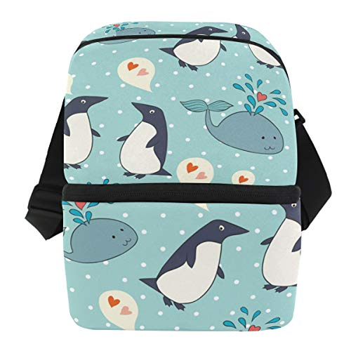 Lunchtasche mit niedlichem Pinguin mit Wal isoliert, für Damen, Herren, Erwachsene, Lunchbox, Kühler, Schultergurt, für Mahlzeiten, Vorbereitung, groß, für Schule und Büro - Lunch-box Pinguin