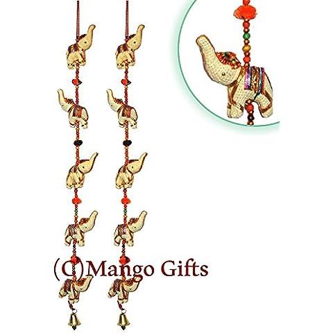 Porta decorazione da appendere in cotone Elephants in Colore brillante & Ivory corda con perline e Brass Bell Set di 2 pezzi