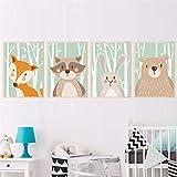 Mddjj Forêt Mignon Animaux Fox Lapin Ours Girafe Toile Peinture Art Print Affiche...