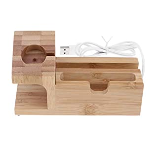 D DOLITY Charging Station Charger Stand Charging Dock Cable Management,Bamboo Wood Charging Station with 3 USB Power Ports for AirPods/Apple Watch/iPhone