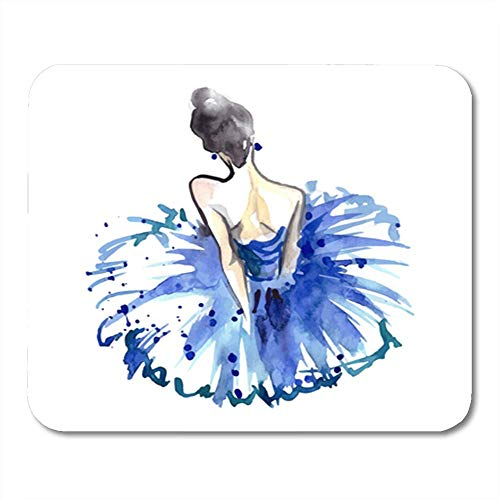Gaming Mauspads, Gaming Mouse Pad Women Watercolor Ballerina in Blue Tutu from The Back Ballet Dancer Accessory 11.8