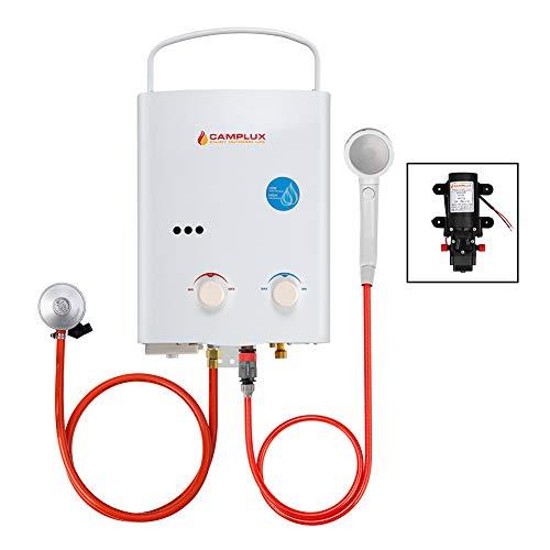 Camplux 5L Tankless Gasdurchlauferhitzer, Gas Propan Durchlauferhitzer Instant Warmwasserbereiter 10kW mit CE Regler 12V Wasserpumpe 4.3L