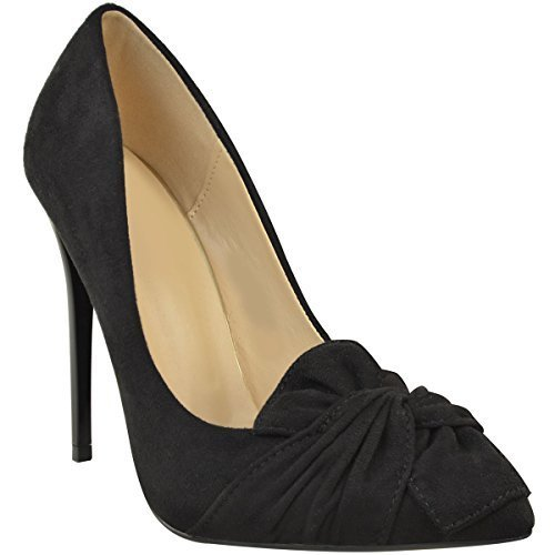 de talon faux soirée chaussures noeud Escarpins suède à noir aiguille décoratif femme xYwfAHUq