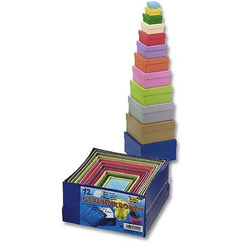 Folia - Plaza de cajas de cartón para regalo, color, 12 piezas de diferentes tamaños y colores