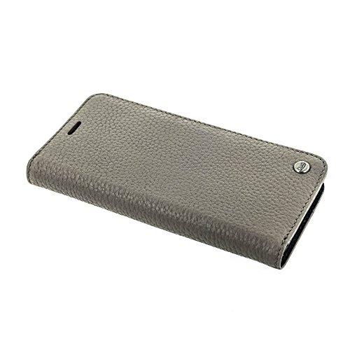 QIOTTI >              SAMSUNG GALAXY S8              < incl. PANZERGLAS H9 HD+, RFID Schutz, 2-in-1 Booklet mit herausnehmbare Schutzhülle, magnetisch, 360 Grad Aufstellmöglichkeit, Wallet Case Hülle Tasche handgefertigt aus h STEIN GRAU