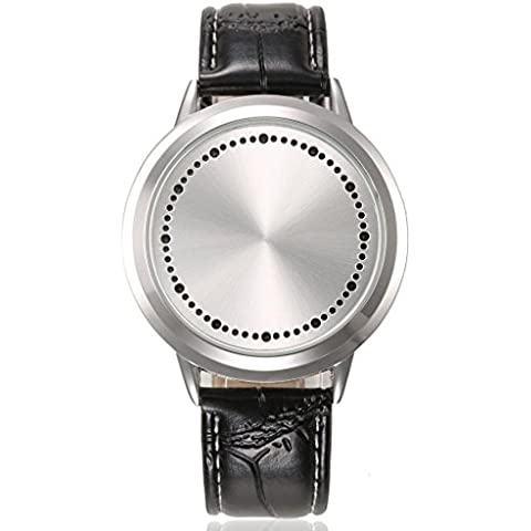 GBI Unisex Touch Screen orologio digitale a LED Flash in pelle PU polso watches-black