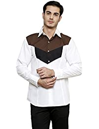 DAZZIO Solid Slim Fit White Casuall Shirt (Please Refer Size Chart)