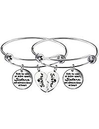 2 braccialetti regolabili con ciondoli, ideali per migliori amiche e sorelle, idea regalo per compleanno.