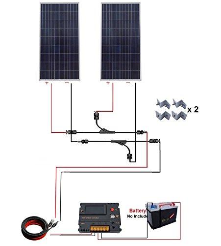 ECO-WORTHY 300W Polykristalline Solar Starter Kit: 2pcs 160W Poly Solarmodule + 20A Auto Switch LCD Intelligent Laderegler + 16Ft Solarkabel Adapter + Y MC4 Stecker + Z Halterung montiert - Schwarz Grid Switch