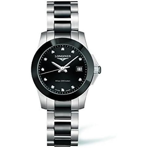 Longines Conquest del diamante negro de las señoras reloj de pulsera con esfera L32574577