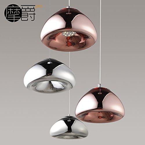 JJ Pendentif LED modernes Fixture de feux style Européen bol en laiton américain de lustres en verre Tom Dixon creative design élégant et lumineux à LED lumière C,30*14cm, Silver,220V-240V