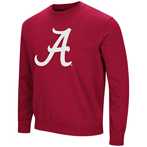 Colosseum NCAA Herren Playbook Fleece-Sweatshirt, Rundhalsausschnitt, Tackle Twill-Stickerei, Teamfarben, Herren, Alabama Crimson Tide-Crimson, Large -