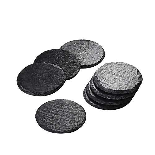 Malacasa, serie nature.slate, set di 8 sottobicchieri in ardesia naturale da 10 cm, rotondi, fatti a mano, utili anche come sottopentola e per servire il formaggio