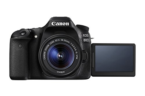 "Canon EOS 80D - Cámara réflex digital de 24.2 MP (pantalla táctil de 3"", video Full HD, enfoque automático, WiFi) negro - kit cuerpo con objetivo Canon EF 18 - 55 mm f/3.5 - 5.6 IS"