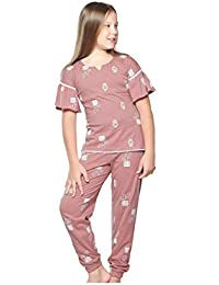 Night Suit for Girls - Pink Color - Sinker Material - Plain Top and Pyjama Set - Half Sleeves Top - Available for 8/10/12/14 Year Old Girls - Casual wear for Kids