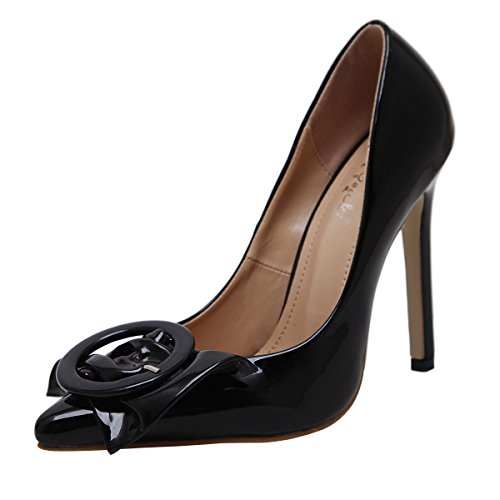 Oasap Women's Solid Bow Pointed Toe Stiletto Heels Pumps Black