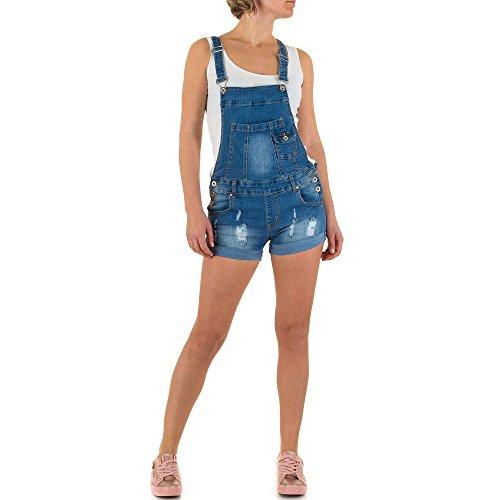 Damen Shorts Destroyed Cargo Bermuda kurze Hose Hotpants Jeans Hot Pants Latzhose Blau L/40