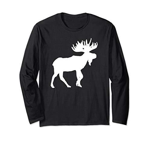 Elch Weiß Silhouette Weihnachten Neujahr Design Langarmshirt