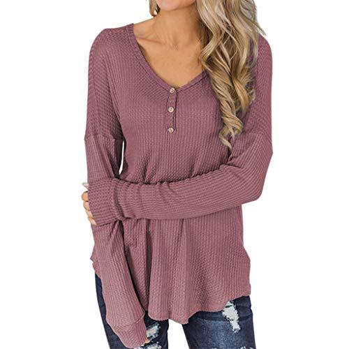 ➤Refill➤Damen V-Ausschnitt Henley T-Shirts Langarm Geripp Knopf Basic Oberteile Tee Langarmshirt Lose Sweatshirt Tunika Basic Tops