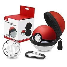 Funda para Pokeball Plus Nintendo Switch Kimood Bolsa para Transportar Pokémon Lets Go Pikachu Eevee Game (Roja/Blanca Funda y Estuche de Plástico) (Pokeball Plus No Incluida)