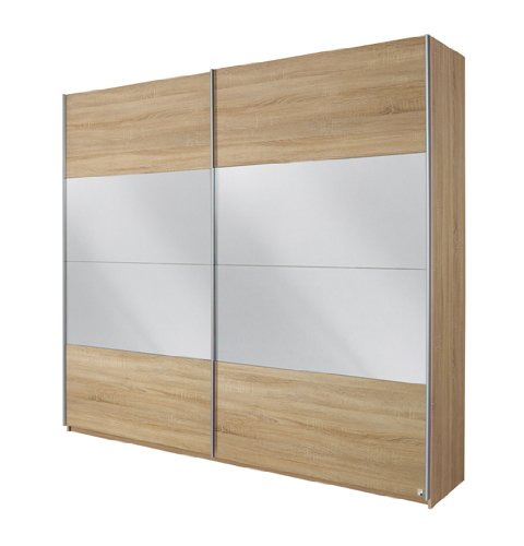 Rauch Schwebetürenschrank mit Spiegel 2-türig, Eiche Sonoma Nachbildung, BxHxT 136x210x62 cm