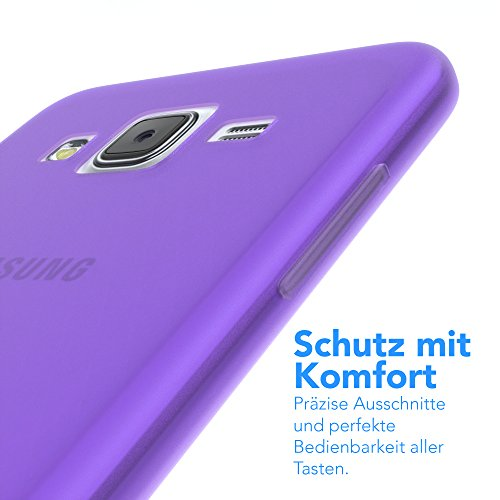 Samsung Galaxy J5 (altes Modell) Hülle - EAZY CASE Ultra Slim Cover Handyhülle - dünne Schutzhülle aus Silikon in Transparent Matt Lila