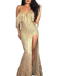 Fuxitoggo Vestido de Bata Larga con Detalles Largos en Brillo Dorado